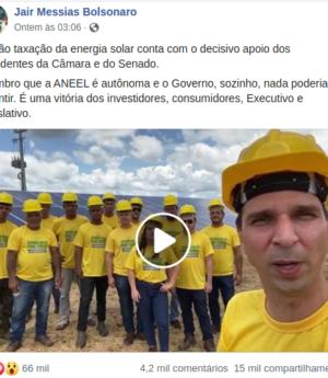 Presidente Jair Bolsonaro compartilhou o vídeo de agradecimento dos capacetes amarelos.